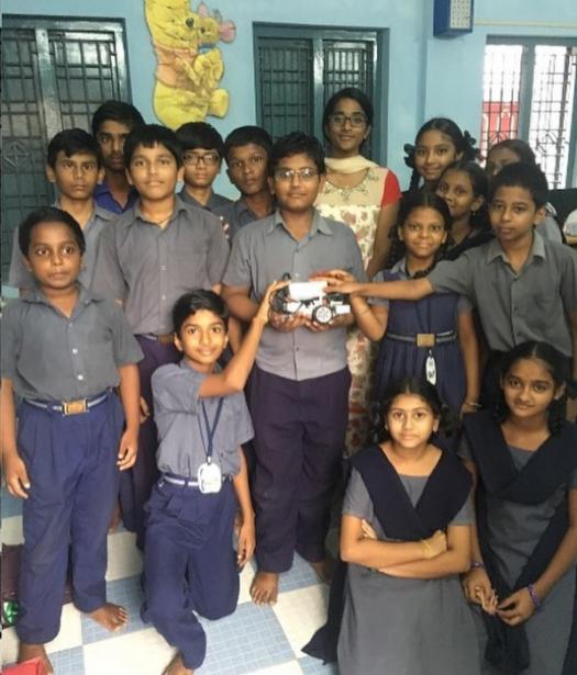 YETI team member Soenika (Sunny) in India, Bala Bhanu Vidyalayam. She taught local children how to program and build a Lego EV3 robot.