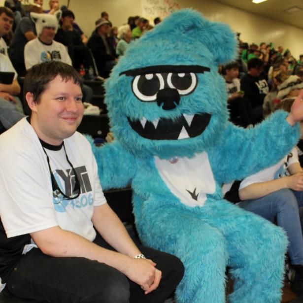 Robbie Hoyler and the YETI mascot