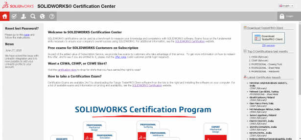 An image of the SOLIDWORKS Certification Center's front page.