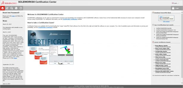 certification center home page