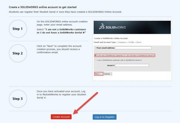 creat account red button