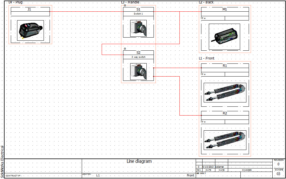 SolidWorks Electrical 2D: Line Diagram Drawings & Locations on