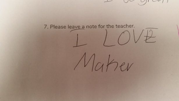 A note from one of the Jackie's students