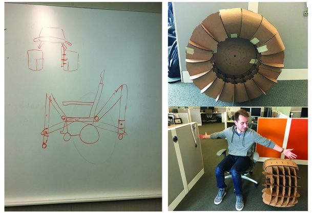 Early drawings and a cardboard wheel prototype for the Max-D costumer