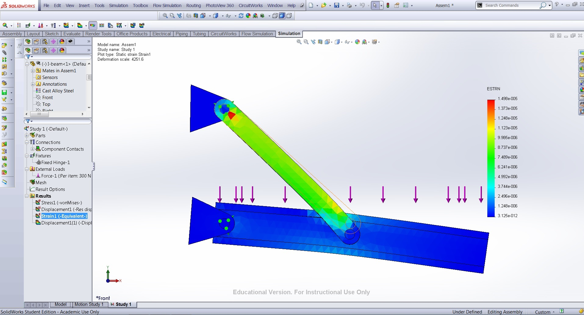 Use Solidworks In Stress Analysis Measure Stresses Strains And Drawing Shear Force Bending Moment Diagrams Strain On I Beam Supporting Rods