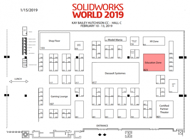 SOLIDWORKS World 2019 Floor Plan with the Education Zone highlighted