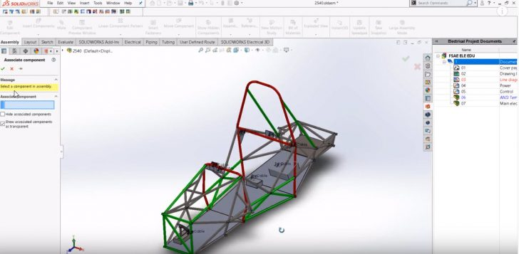 SOLIDWORKS Electrical Formula SAE Tutorial: How to open a SOLIDWORKS Electrical project and associate electrical components