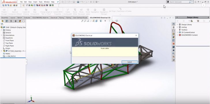 SOLIDWORKS Electrical Formula SAE Tutorial: Creating a routing path and route cables along the path
