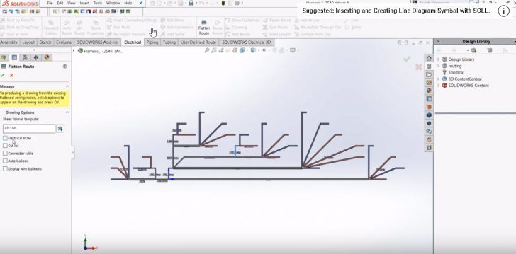 SOLIDWORKS Electrical Formula SAE Tutorial: How to flatten the route and creating reports