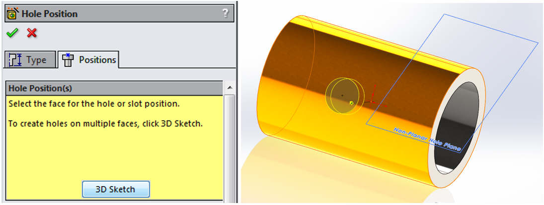 how to add relations between holes in solidworks