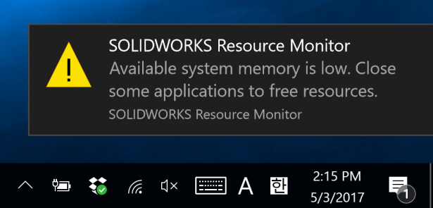 WARNING: SOLIDWORKS Resources Running Low