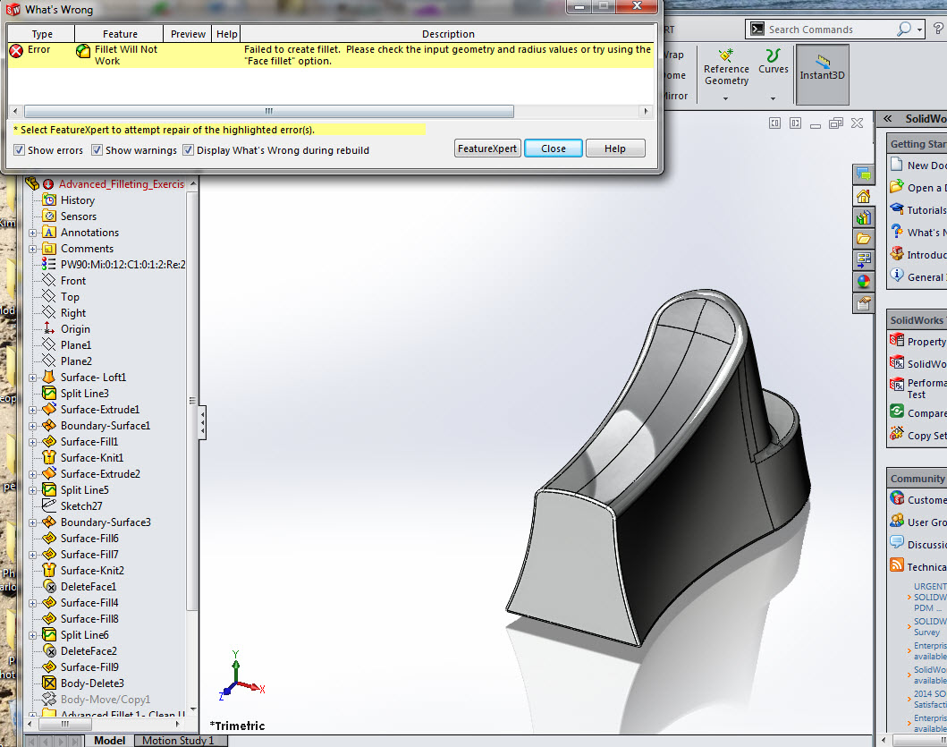 SOLIDWORKS Part Reviewer: Advanced Filleting Exercise