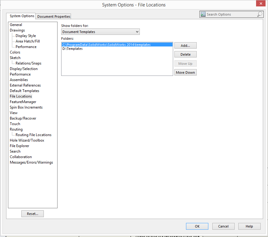 Solidworks 2018 setting file locations for templates august.