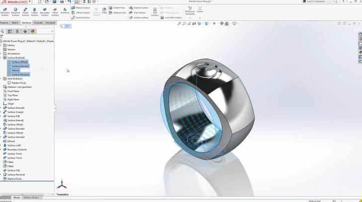 SOLIDWORKS Infinite Power Ring Surfacing – Part 4
