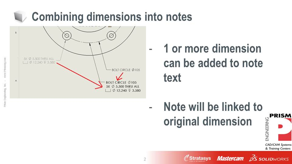 Using the Note Feature to Combine Drawing Dimensions