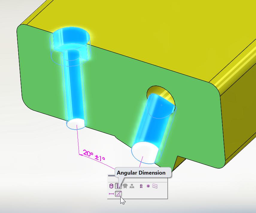 How to define an angular hole using DimXpert?
