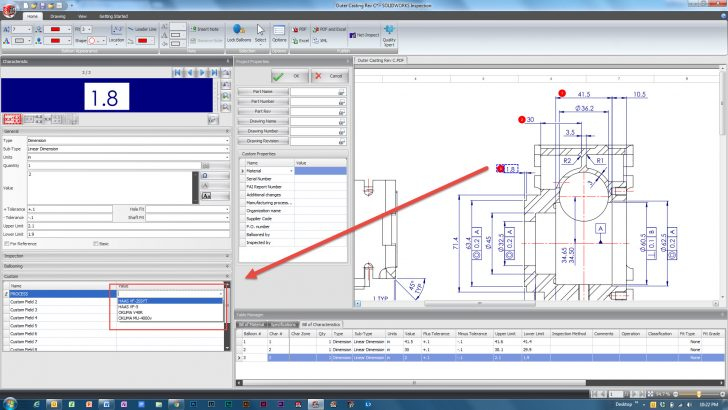 Customizing Fields in SOLIDWORKS Inspection