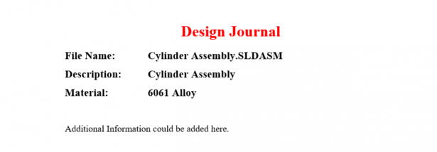 SOLIDWORKS Design Journal
