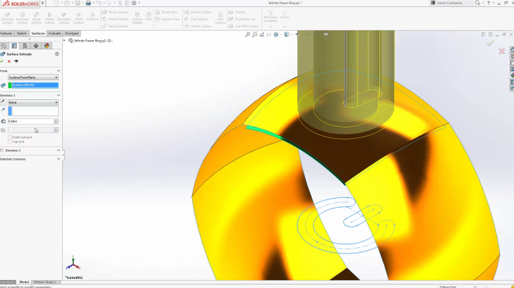 SOLIDWORKS Infinite Power Surfacing Ring – Part 2
