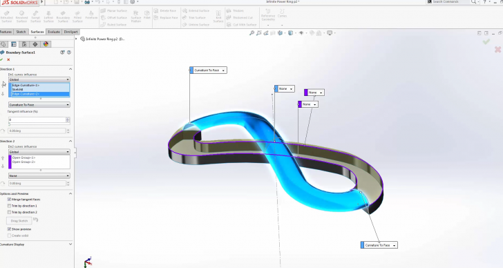 SOLIDWORKS Infinite Power Surfacing Ring – Part 3