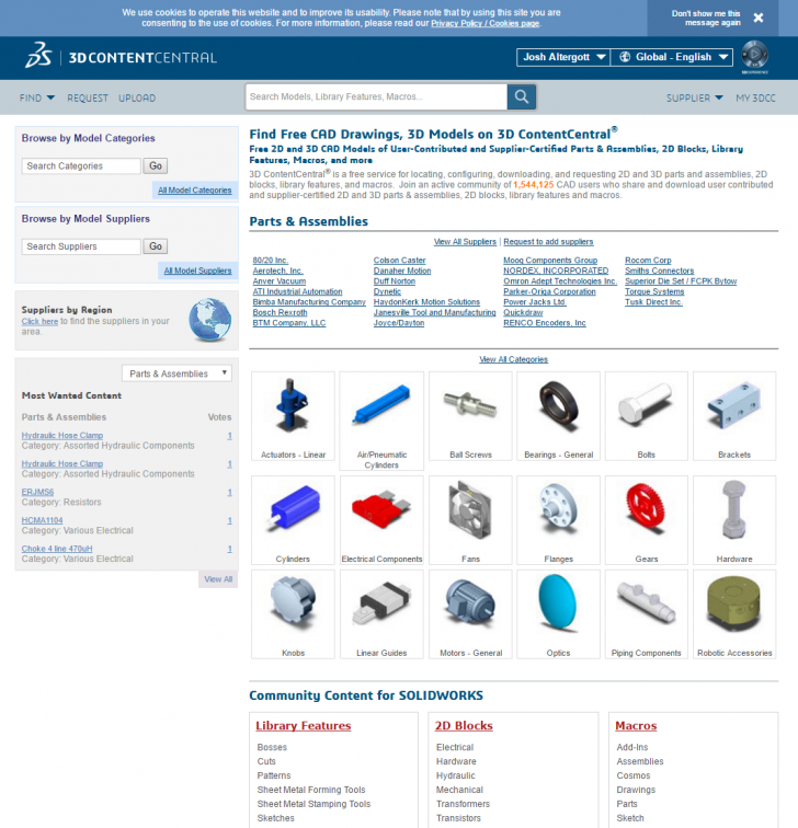 Millions of Free SOLIDWORKS Models on 3D ContentCentral