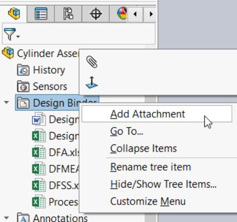 design binder attachment