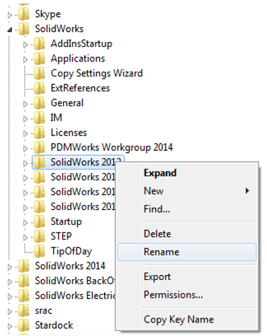 Resetting the SOLIDWORKS registry