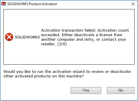 Activation count exceeded error message