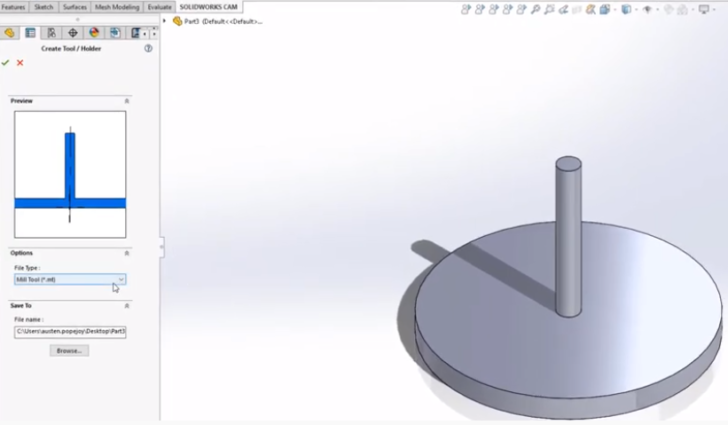 Creating a Custom Tool within SOLIDWORKS CAM