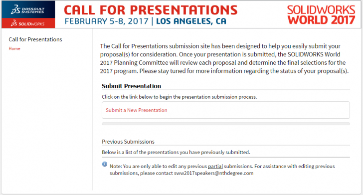 SOLIDWORKS World 2017 Call for Presentations