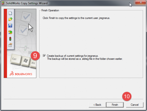 Before applying the settings, SOLIDWORKS give you the opportunity to backup your current settings.