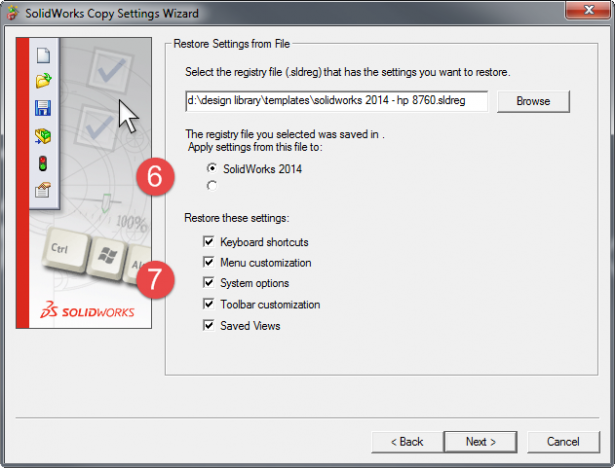 Choose which installation of SOLIDWORKS to Restore the settings to, and which settings to restore.