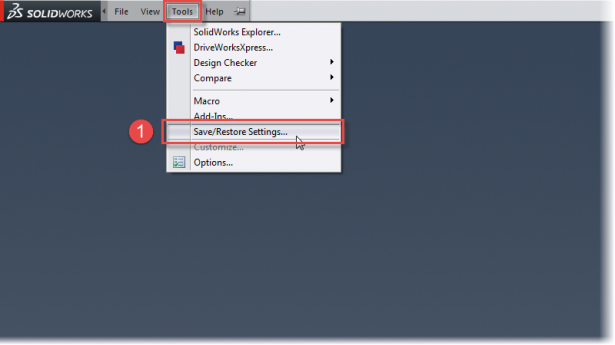 Copy Settings can be access from the Tools menu in SOLIDWORKS.