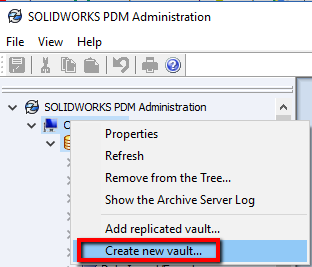 PDM - Create New Vault