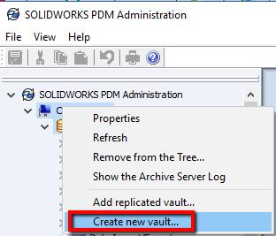 PDM - Create New Vault