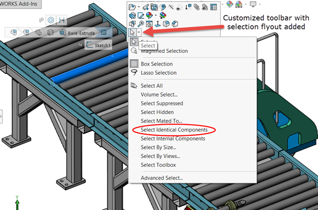 SOLIDWORKS 2016: Easily Select Identical Components