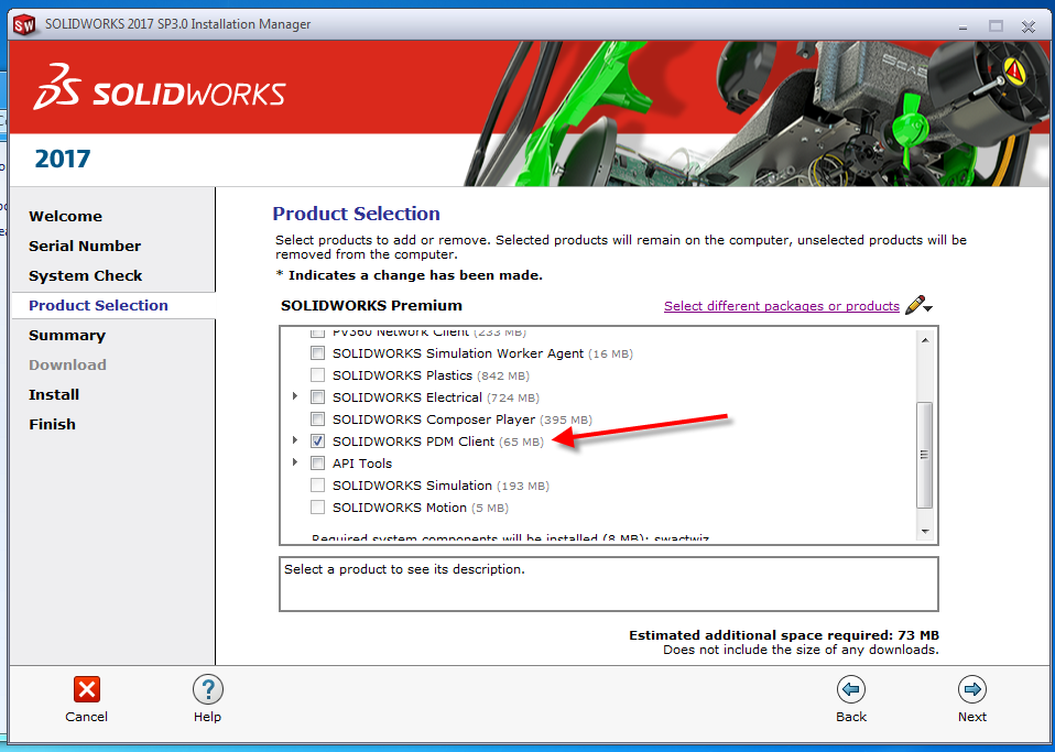 SOLIDWORKS Installation - Product Selection