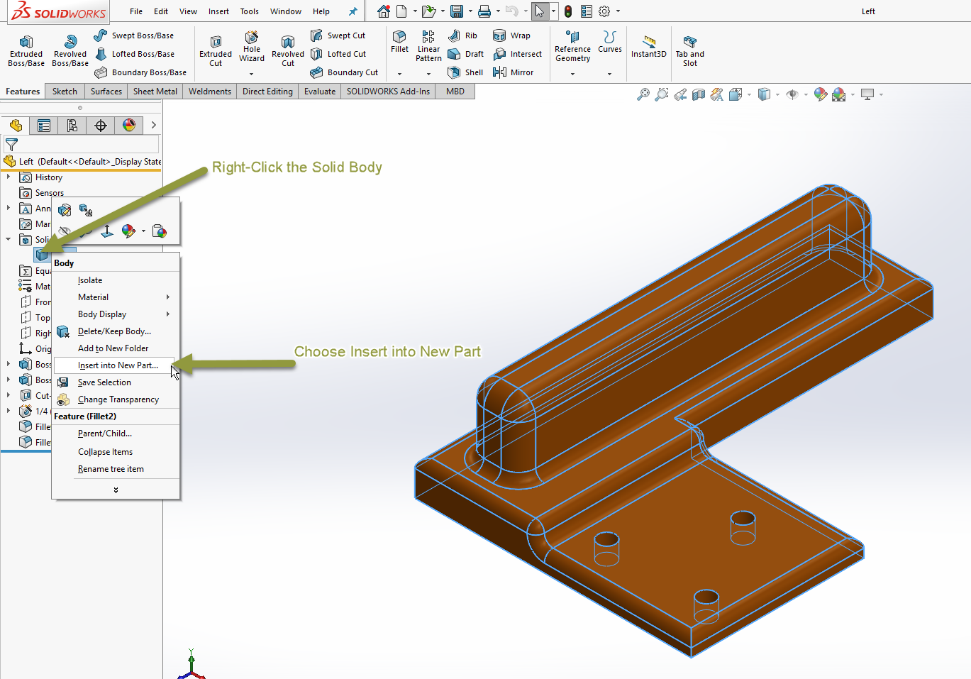 Creating and Using Derived Parts in SOLIDWORKS