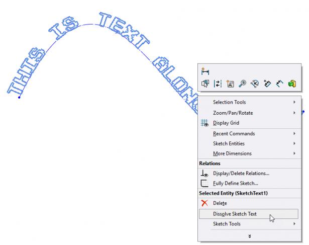 Dissolve Sketch Text Command