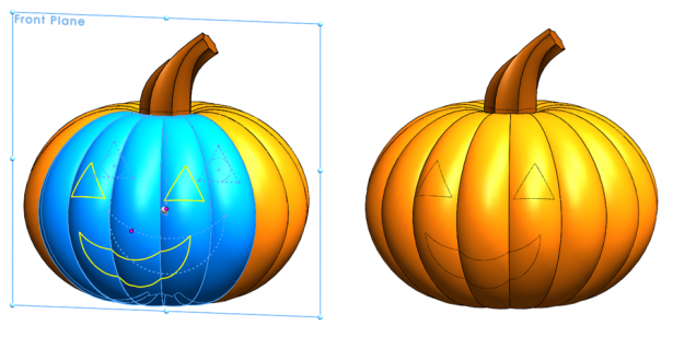 Drawing the design on our pumpkin with SOLIDWORKS