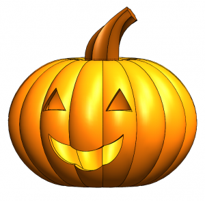 Finished jack o lantern in SOLIDWORKS