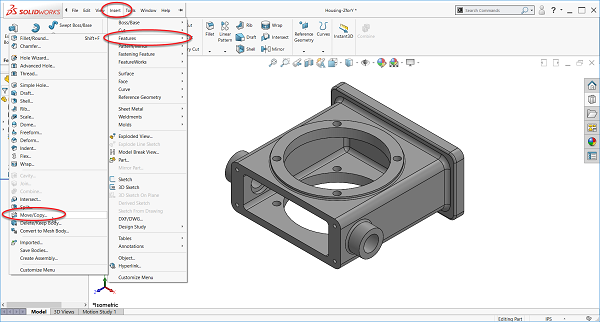 Imported part in black and white - SOLIDWORKS view