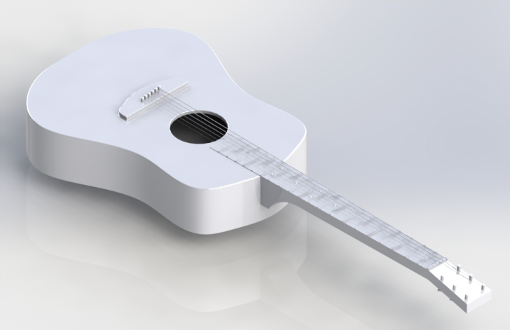 SOLIDWORKS Simulation – Frequency Analysis of Tensioned Guitar Strings
