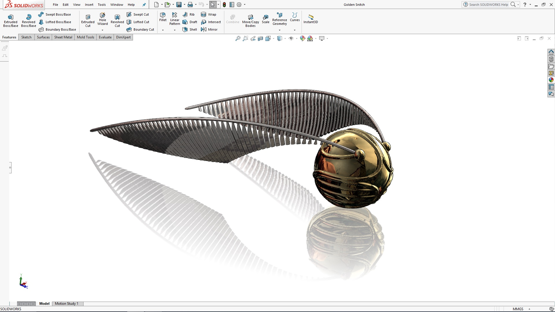 SOLIDWORKS Harry Potter's Golden Snitch Tutorial – Part