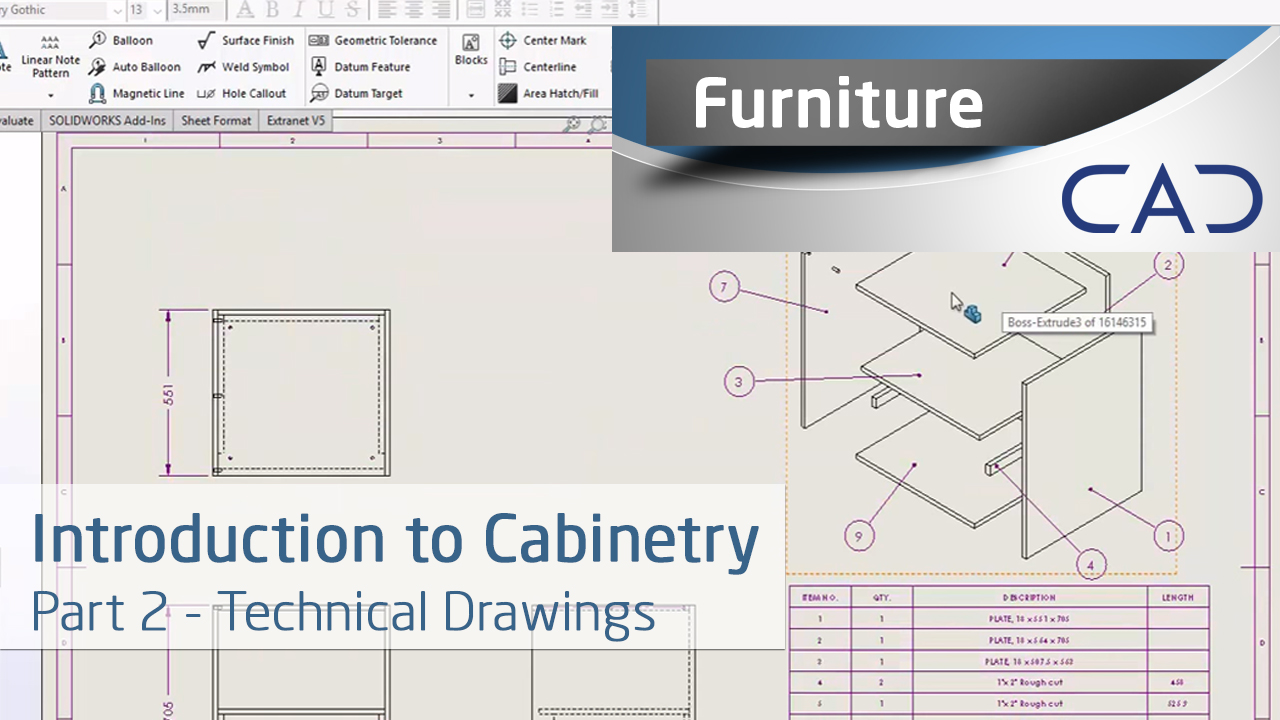 Introduction To Cabinetry In Solidworks Technical Drawings