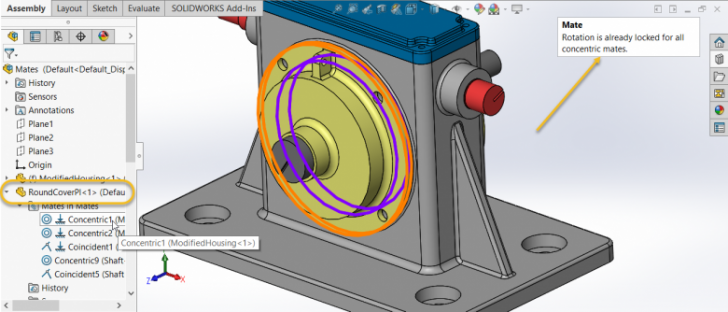Locking a SOLIDWORKS Concentric Mate