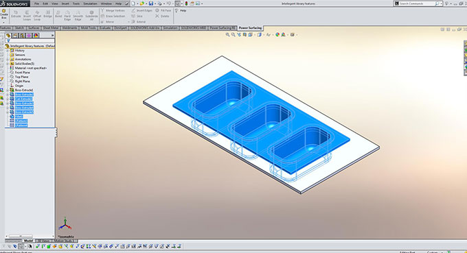 Intelligent library features in SOLIDWORKS.