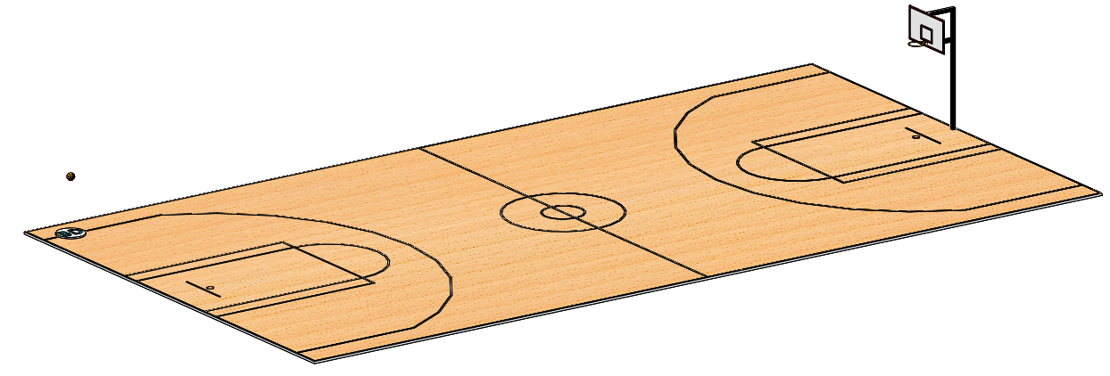 Longest Scoring Shot Basketball Court in SOLIDWORKS