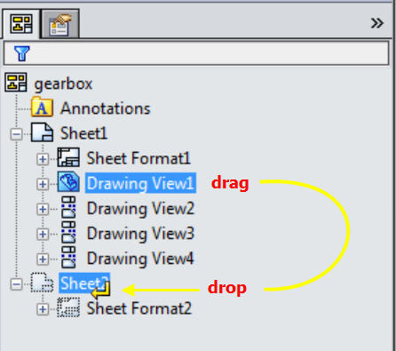 SOLIDWORKS Drawing Move View or BOM to a Different Sheet