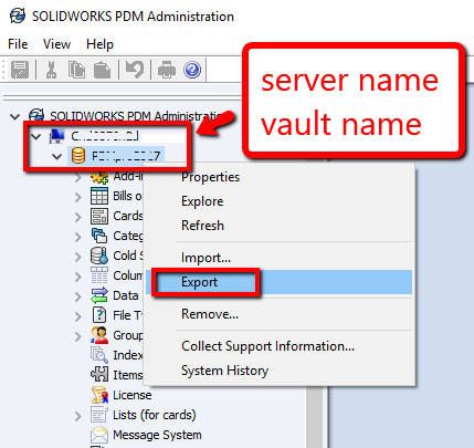 SOLIDWORKS PDM Administration Panel